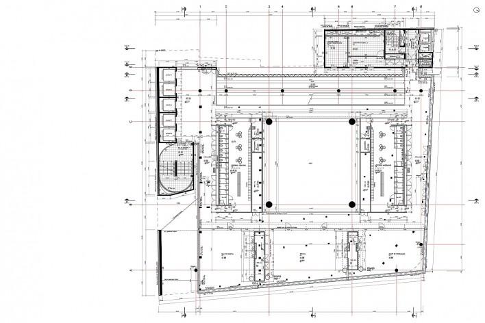Sesc 24 de Maio, 9º pavimento, esportes, vestiários masc. e fem., Paulo Mendes da Rocha + MMBB Arquitetos, São Paulo<br />Imagem divulgação
