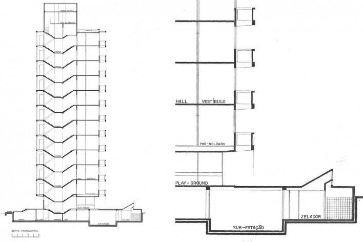Edifício Osório de Carvalho, corte e detalhe do corte, Salvador BA, 1968<br />Imagem divulgação  [Arquivo Paulo Ormindo de Azevedo]
