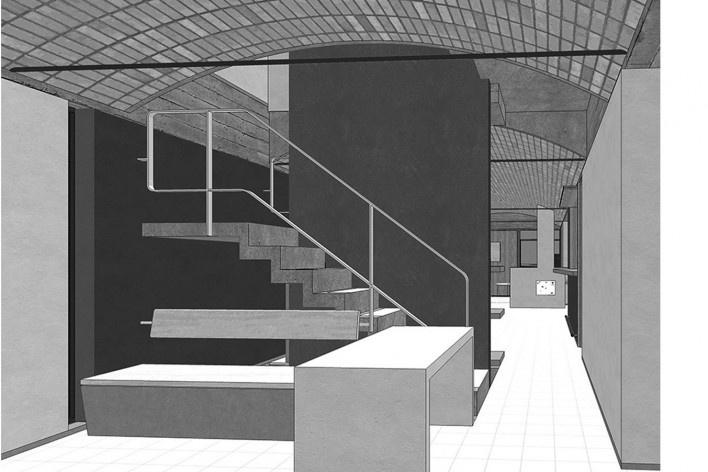 Casas Jaoul, vista interna del edificio, Neuilly-sur-Seine, París, Francia, 1951-56. Arquitecto Le Corbusier<br />Modelo tridimensional Lucas Kirchner / Imagem Edson Mahfuz
