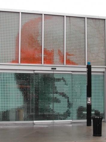 Retrato de Mies van der Rohe no painel de pontos-diagramas de Michael Rock<br />Foto Carlos M. Teixeira