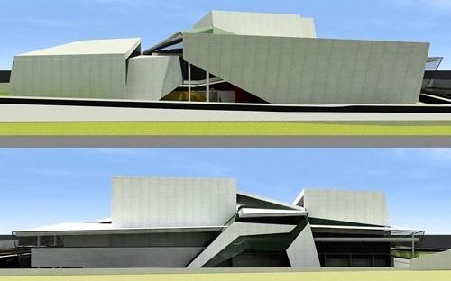 Vista frontal e posterior do prédio<br />Imagem do autor do projeto