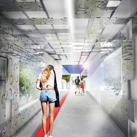 Perspectiva ilustrativa da passagem proposta, mostrando sua relação a obra artística e a superfície em relevo e reflexão. Concurso Passagens sob o Eixão. Menção honrosa 5<br />divulgação