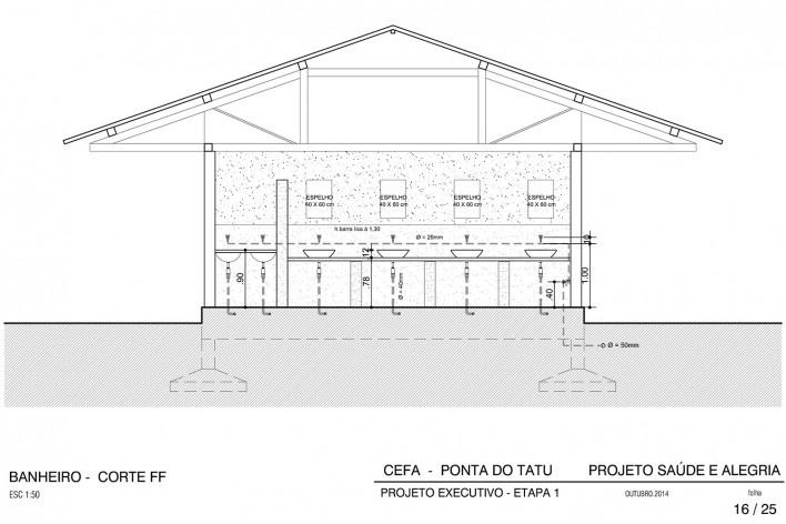 Centro Experimental Floresta Ativa - CEFA, corte do banheiro do alojamento, RESEX Tapajó-Arapiuns PA. Arquiteta Cristina Xavier<br />Imagem divulgação