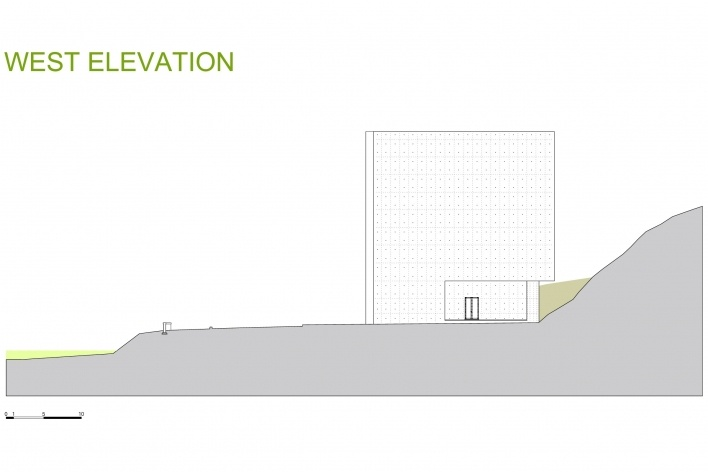 Sede da Fundação Iberê Camargo, elevação oeste. Arquiteto Álvaro Siza, 2008<br />Desenho escritório