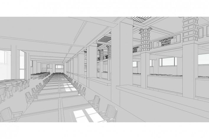 Edifício Larkin, Buffalo, Nova York, EUA, 1905. Arquiteto Frank Lloyd Wright<br />Modelo tridimensional Ana Clara Pereira dos Anjos / Imagem Edson da Cunha Mahfuz