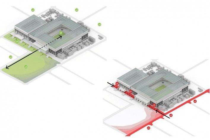 Complexo Esportivo e Cultural Clube Atlético Paranaense, níveis de acesso, Curitiba. Arquiteto Carlos Arcos<br />Imagem divulgação