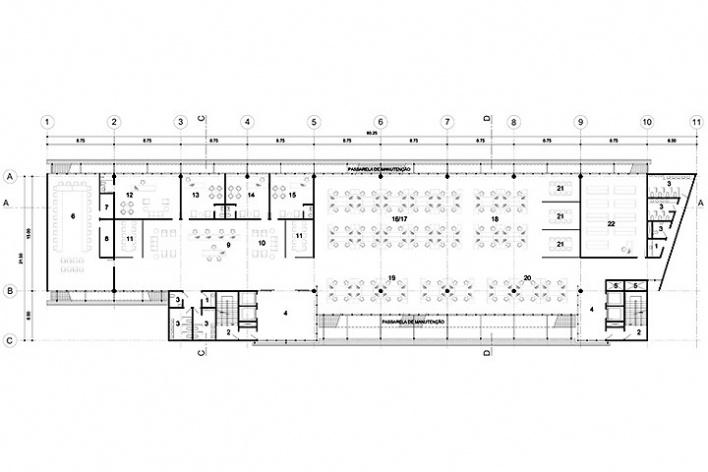 Centro de Referência em Empreendedorismo do Sebrae-MG, planta terceiro pavimento, 2º lugar. Arquiteto Francisco Spadoni, 2008<br />Desenho escritório