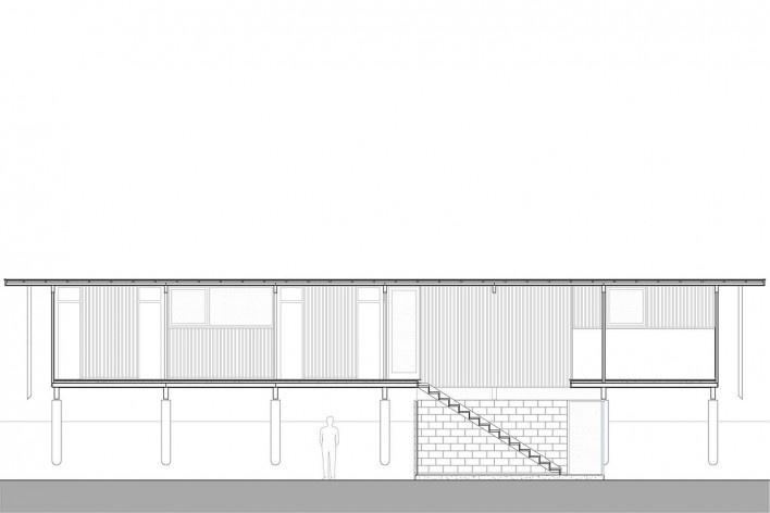 Vila Taguaí, corte longitudinal das casas 3 e 8, Carapicuiba SP, 2007-2010. Arquitetos Cristina Xavier (autora), Henrique Fina, Lucia Hashizume e João Xavier (colaboradores)