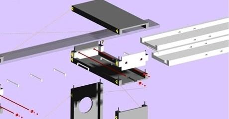 Perspectiva das peças e esquema de montagem<br />Imagem dos autores do projeto