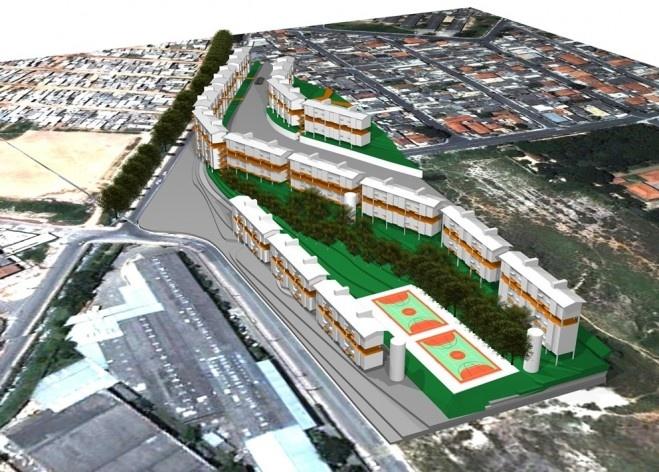 Perspectiva – Implantação em Taboão da Serra. Concurso Habitação para Todos. CDHU. Edifícios de 4 pavimentos - Menção honrosa.<br />Autores do projeto  [equipe premiada]