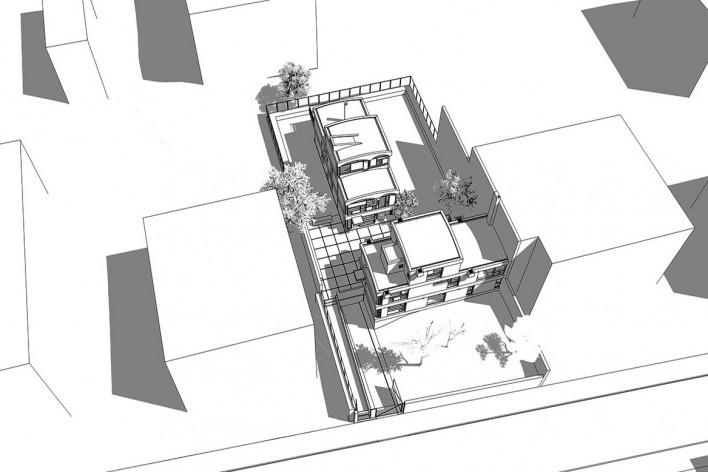 Casas Jaoul, vista aérea, Neuilly-sur-Seine, París, Francia, 1951-56. Arquitecto Le Corbusier<br />Modelo tridimensional Lucas Kirchner / Imagem Edson Mahfuz
