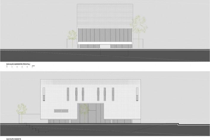 Residência KS, elevação noroeste [frontal] e elevação sudeste, Natal RN, 2016. Arquitetos Alexandre Brasil, Paula Zasnicoff e Raquel Araújo<br />Imagem divulgação