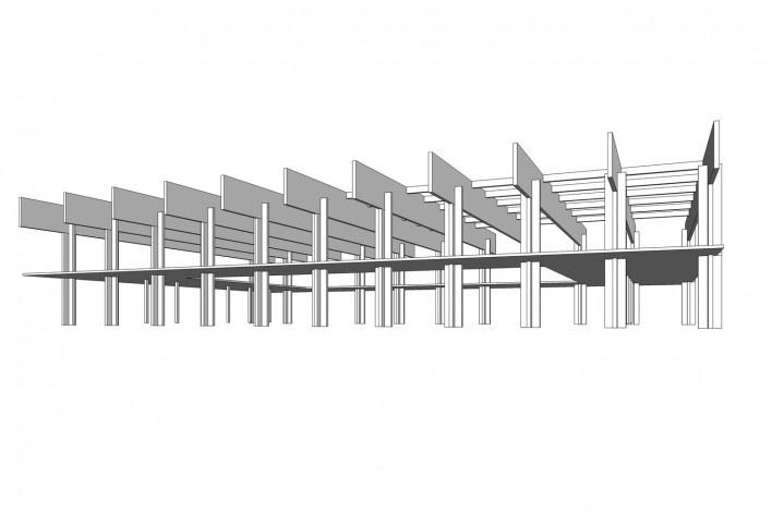 Saint Catherine's College, estrutura da biblioteca, Oxford, Inglaterra, 1959-1964, arquiteto Arne Jacobsen<br />Modelo tridimensional de Edson Mahfuz e Ana Karina Christ