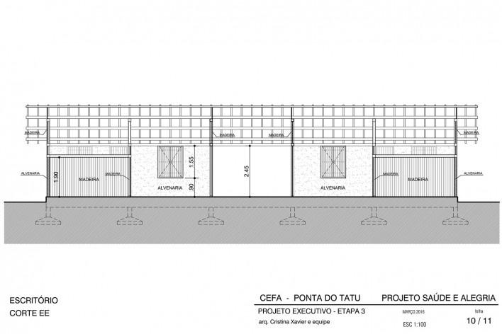 Centro Experimental Floresta Ativa - CEFA, corte longitudinal escritório, RESEX Tapajó-Arapiuns PA. Arquiteta Cristina Xavier<br />Imagem divulgação