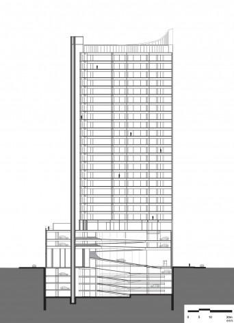 Corte longitudinal<br />Diseño de los autores del proyecto  [Migdal Arquitectos]