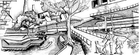 Espaços de circulação e áreas verdes<br />Imagem dos autores do projeto