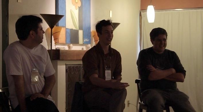 """André Costa, Marcelo Grabowsky (diretor do filme) e Reinaldo Cardenuto em debate após a projeção do documentário """"Testemunha 4"""", Move Cine Arte 2012, Monte Verde<br />Foto Helena Guerra"""