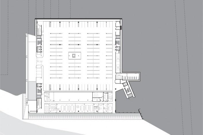 Sede do Sebrae Nacional, planta de subsolo – nível 1059,20, Brasília DF, 2010. Arquitetos Alvaro Puntoni, Luciano Margotto, João Sodré e Jonathan Davies