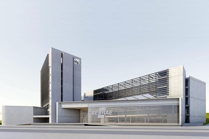 Centro de Referência em Empreendedorismo do Sebrae-MG, pavilhão – embasamento, 2º lugar. Arquiteto Francisco Spadoni, 2008<br />Desenho escritório
