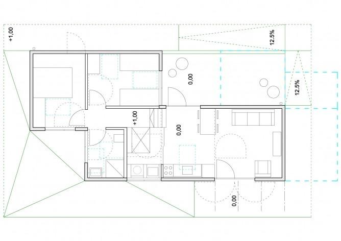 Casa tipo A. Planta baixa. Concurso Habitação para Todos. CDHU. Casas escalonadas - 2º Lugar.<br />Autores do projeto  [equipe premiada]