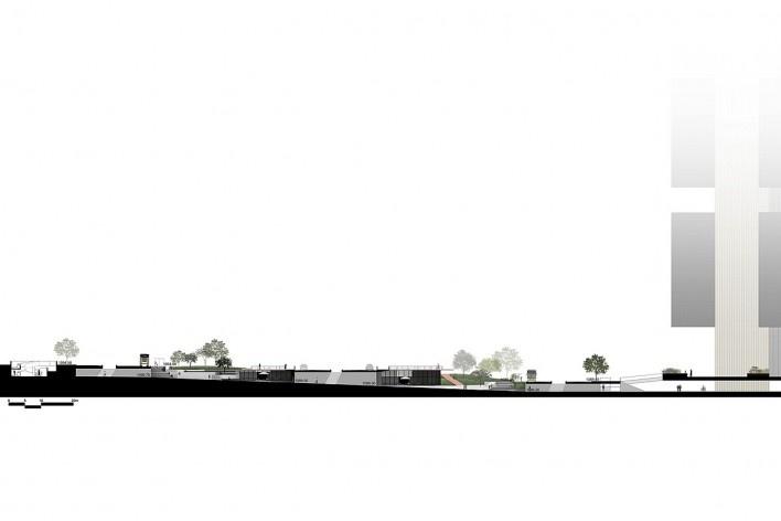 Corte longitudinal do conjunto Concurso Passagens sob o Eixão. Primeiro colocado<br />divulgação