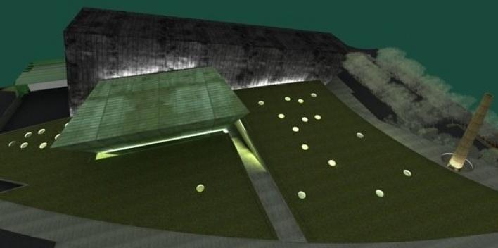 Vista aérea geral noturna do conjunto<br />Imagem do autor do projeto
