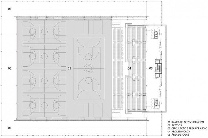 Arena da Juventude, planta, Parque Olímpico de Deodoro, Rio de Janeiro, RJ, Escritório Vigliecca & Associados<br />Imagem divulgação