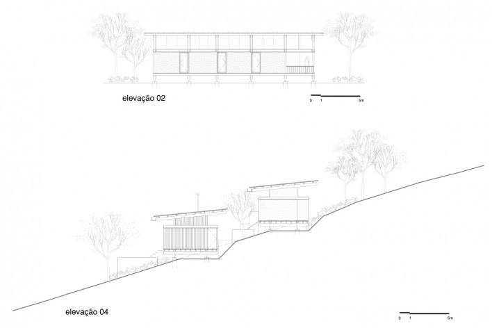 Casa em Gonçalves, elevações 02 e 04, Gonçalves MG Brasil, 2012-2013. Arquiteto André Vainer / André Vainer Arquitetos<br />Imagem divulgação  [Acervo André Vainer Arquitetos]