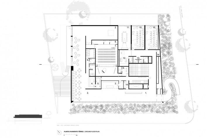 Instituto Ling, lower floor plan, Porto Alegre RS Brasil, 2014. Architect Isay Weinfeld (author)<br />Imagem divulgação / disclosure image  [Isay Weinfeld]