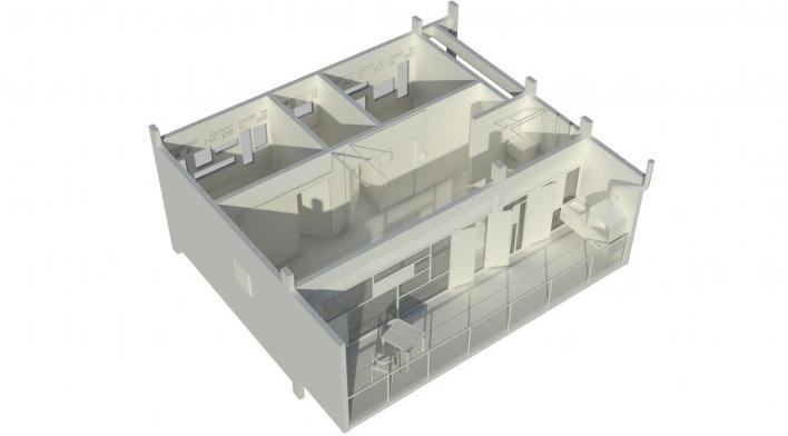Axonometria da unidade. Concurso Habitação para Todos. CDHU. Edifícios de 6/7 pavimentos - 2º Lugar.<br />Autores do projeto  [equipe premiada]