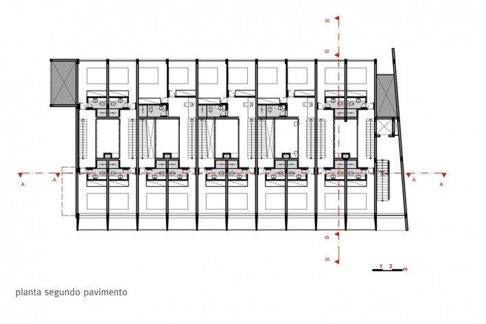 Estúdios Ouro Preto, planta segundo pavimento, Sete Lagoas MG Brasil, 2016. Arquitetos Carlos Alberto Maciel e Ulisses Mikhail Jardim Itokawa / Arquitetos Associados<br />Imagem divulgação  [Acervo Arquitetos Associados]