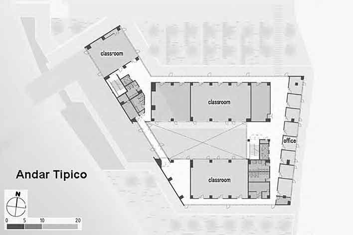 Escola de Administração, planta pavimento tipo, Josai International University, Saitama-ken, Japão, 2003-2006, Studio Sumo<br />Imagem divulgação  [Studio Sumo]