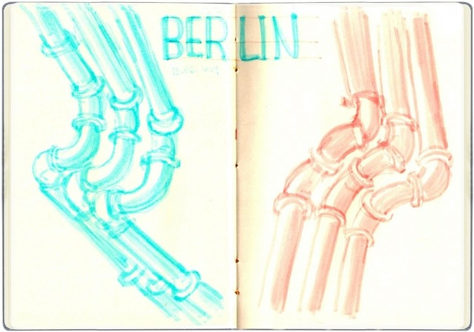 Os tubos coloridos de Berlim, Alemanha<br />Desenho de Petterson Dantas