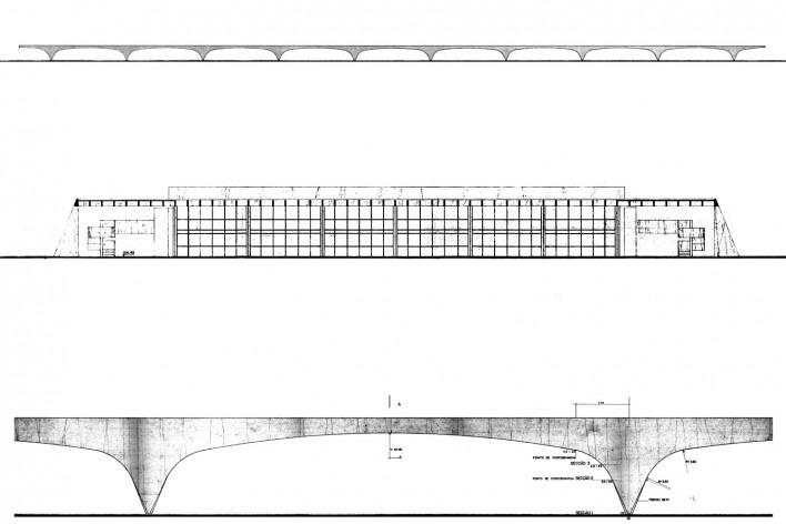 Escola Superior de Administração Fazendária – ESAF, elevação com pórticos, corte transversal do setor educacional e desenho da geometria dos pórticos de concreto armado, Brasília DF [Acervo PPMS]