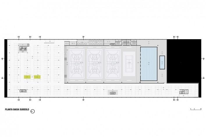 Campus Igara UFCSPA, planta subsolo. OSPA Arquitetura e Urbanismo<br />Imagem divulgação