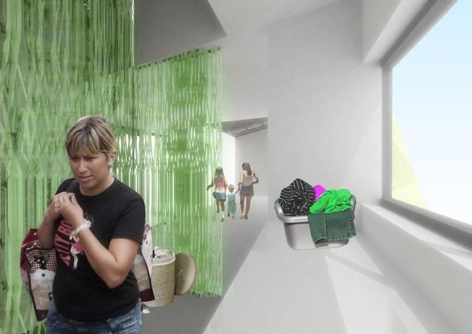 Perspectiva interna. Concurso Habitação para Todos. CDHU. Casas escalonadas - 2º Lugar.<br />Autores do projeto  [equipe premiada]