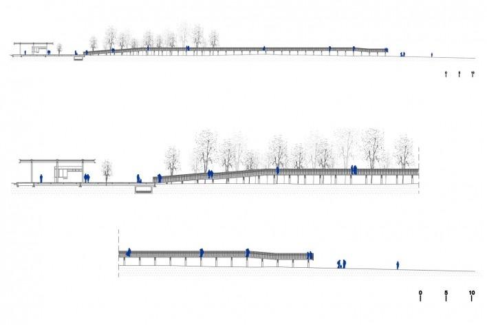 Requalificação urbana e ambiental da orla de Ilha Comprida, Mediador A, corte transversal em duas escalas, 2019. Arquitetos Marcos Boldarini e Lucas Nobre<br />Imagem divulgação