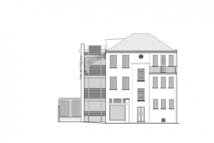 Casa Lutzenberger, fachada sudoeste. Reforma Kiefer arquitetos
