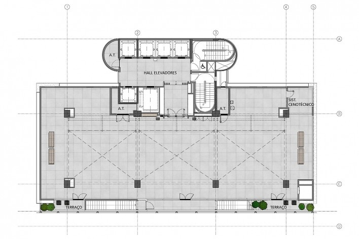 Sesc Avenida Paulista, planta 3º pavimento - uso programático, escritório Königsberger Vannucchi, 2018<br />Imagem divulgação  [Königsberger Vannucchi Arquitetos Associados]