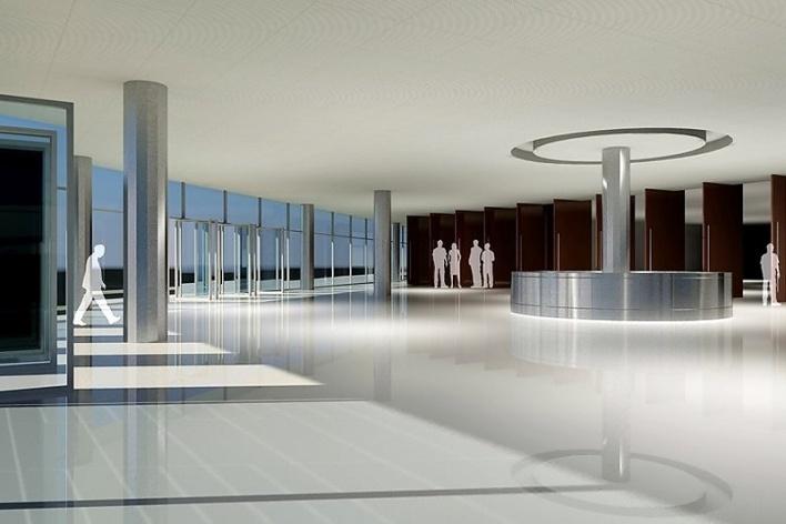 Centro de Referência em Empreendedorismo do Sebrae-MG, vista do foyer, menção honrosa. Arquiteto Marcos Alexandre Jobim, 2008<br />Desenho escritório