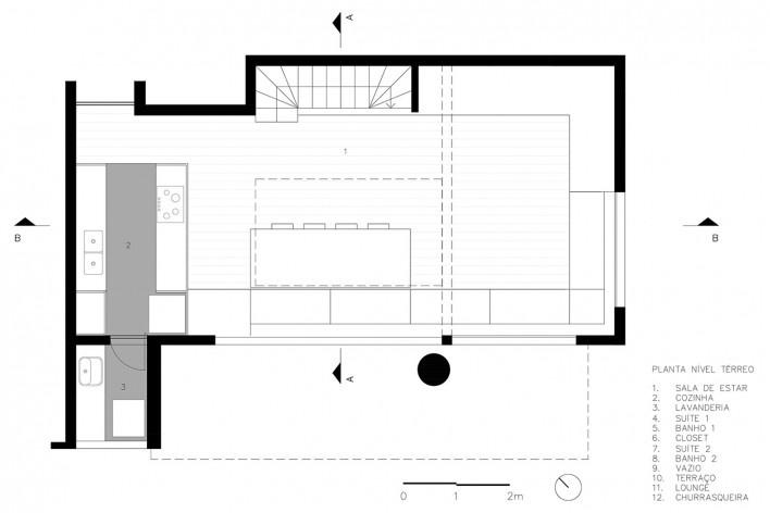 Apartamento Vazio, planta térreo, São Paulo, 2015, arquitetos Marina Acayaba e Juan Pablo Rosenberg<br />Imagem divulgação