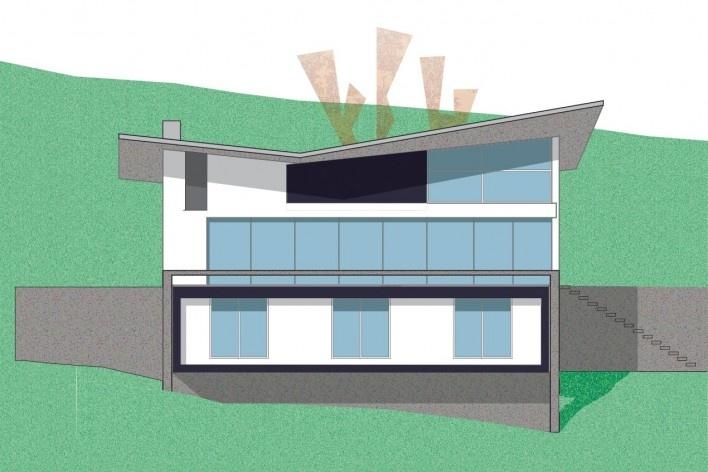 Residência SM (Casa Borboleta), fachada norte, Caxias do Sul RS, arquitetos Fernando dos Santos Rocha Machado e Rovena Maria Schumacher<br />Imagem divulgação