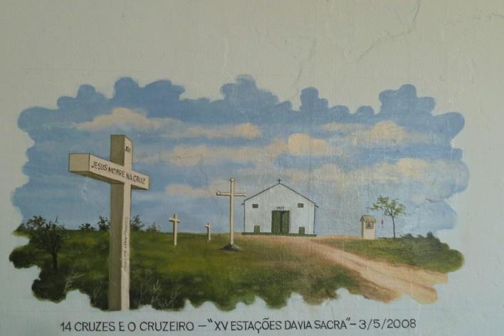 Capela no Morro da Mesa, pintura na parede interna<br />Foto Michel Gorski