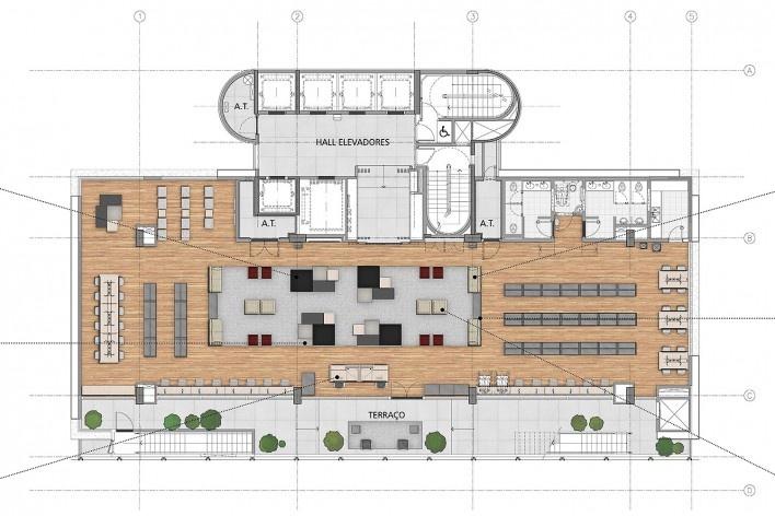 Sesc Avenida Paulista, planta 13º pavimento - biblioteca, escritório Königsberger Vannucchi, 2018<br />Imagem divulgação  [Königsberger Vannucchi Arquitetos Associados]