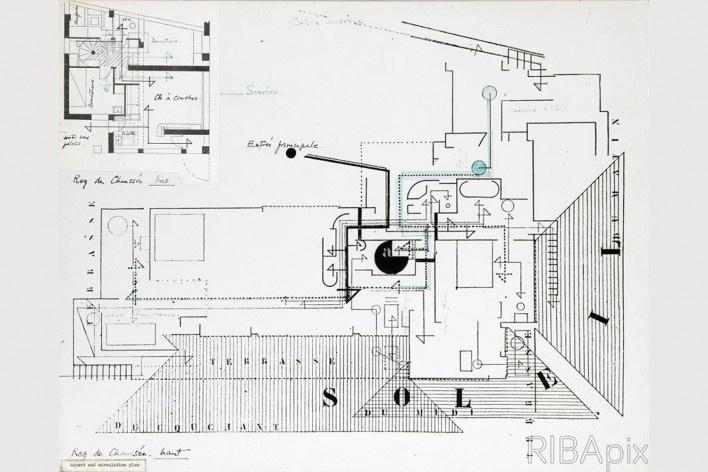 Casa E1027, aspectos e plano de circulação de 1923, Roquebrune-Cap-Martin, França. Arquiteta Eileen Gray, 1926-1929<br />Imagem divulgação  [Riba Collections]