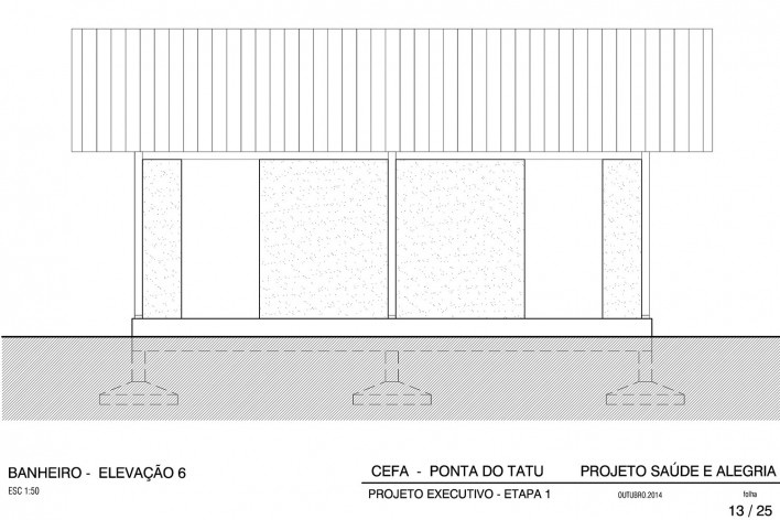 Centro Experimental Floresta Ativa - CEFA, elevação do banheiro do alojamento, RESEX Tapajó-Arapiuns PA. Arquiteta Cristina Xavier<br />Imagem divulgação