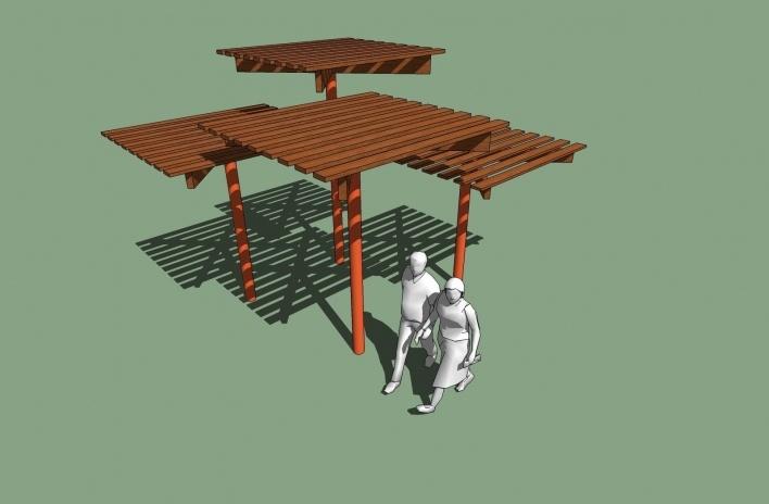 Modelo 3D - Pérgola-Guarda-Chuva<br />Imagem dos autores do projeto