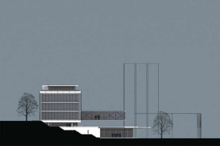Centro de Referência em Empreendedorismo do Sebrae-MG, fachada lateral, menção honrosa. Arquiteto Marcos Alexandre Jobim, 2008<br />Desenho escritório