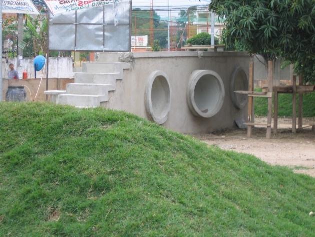 Vista do Muro-Ponte em construção<br />Imagem dos autores do projeto