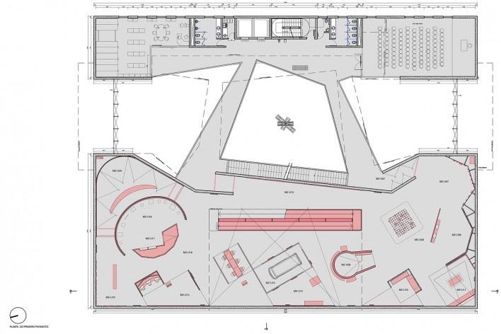 Museu do Trabalho e do Trabalhador, planta primeiro pavimento, São Bernardo do Campo. Escritório Brasil Arquitetura<br />Imagem divulgação  [Brasil Arquitetura]